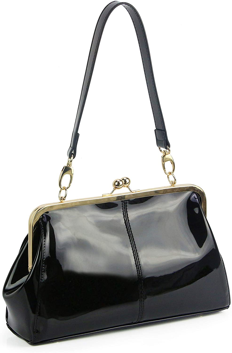 Womens Shiny Patent Leather Handbag Ladies Purse Shoulder Evening Clutch Bags with Removable Strap