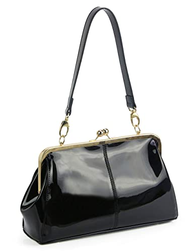 0fc6e34a7950 Vintage Kiss Lock Handbags Shiny Patent Leather Evening Clutch Purse Tote  Bags with Chain Strap (