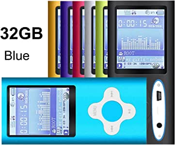 G.G.Martinsen Blue 32GB Versatile MP3/MP4 Player with Photo Viewer, FM Radio and Voice Recorder, Mini USB Port Slim 1.78 LCD, Digital MP3 Player, MP4 Player, Music Player, Media Player