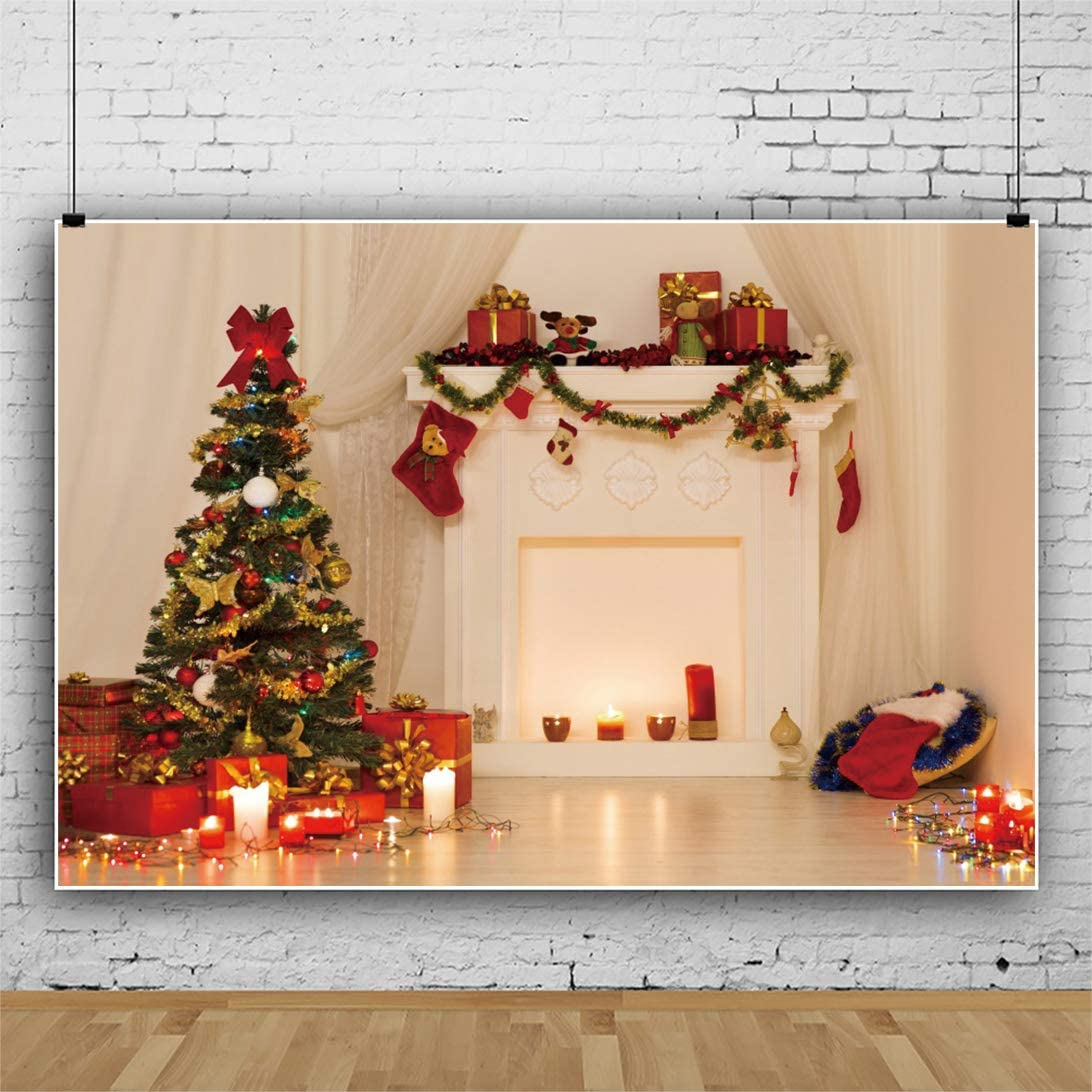 DaShan 12x8ft White Fireplace Christmas Backdrop Christmas Tree Gift Box Christmas Socks Photography Background Family Party Decoration Winter Xmas Home Party Baby Kids Children Photo Props