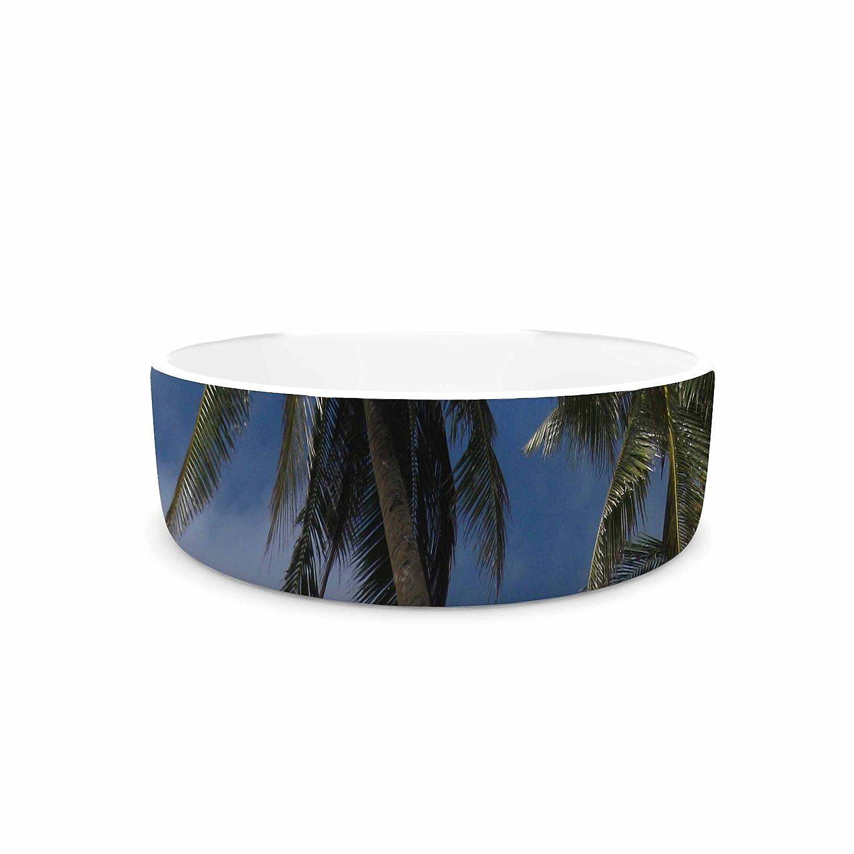 KESS InHouse Susan Sanders bluee Sky Ocean Palm Trees bluee Green Photography Pet Bowl, 4.75  Diameter