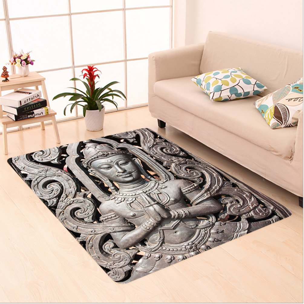 Nalahome Custom carpet tique Buddha in Traditional Thai Art with Swirling Floral Patterns Carving Japanese Decor Bronze area rugs for Living Dining Room Bedroom Hallway Office Carpet (4' X 6') by Nalahome