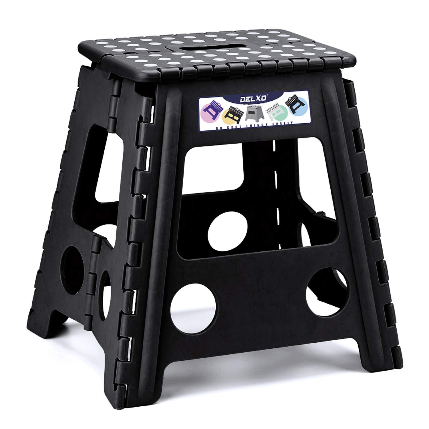Delxo Folding Step Stool 16 inch Plastic Folding Stool,Kitchen Step Stool,Non Slip Foldable Step Stool for Adults,Plastic Stepping Stool,Black by Delxo