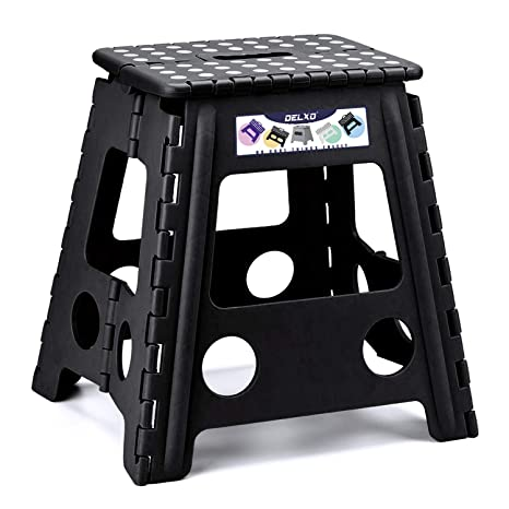 Astounding Delxo Folding Step Stool 16 Inch Plastic Folding Stool Kitchen Step Stool Non Slip Foldable Step Stool For Adults Plastic Stepping Stool Black Ibusinesslaw Wood Chair Design Ideas Ibusinesslaworg
