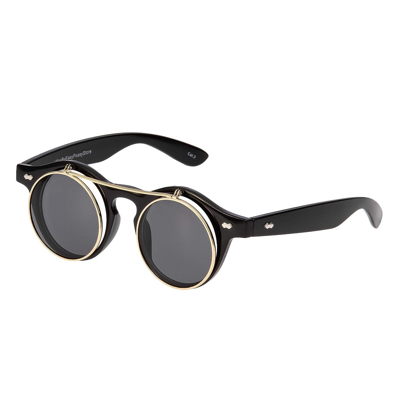 534830e5fdf VINTAGE RETRO BLINDER Style SUNGLASSES Round Tortoise Gold Frame Blue Green  Lens Clothing