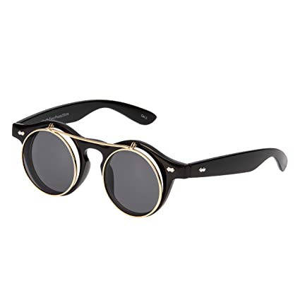 869c15b3a889 Ultra Flip Up Circle Premium Steampunk Glasses Goggles Retro Female Male  Round Rave Gothic Vintage Rustic Rivet Victorian Punk Style Cyber Welding  Cosplay ...