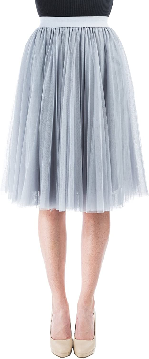 Women Pleated Tulle Skirt...