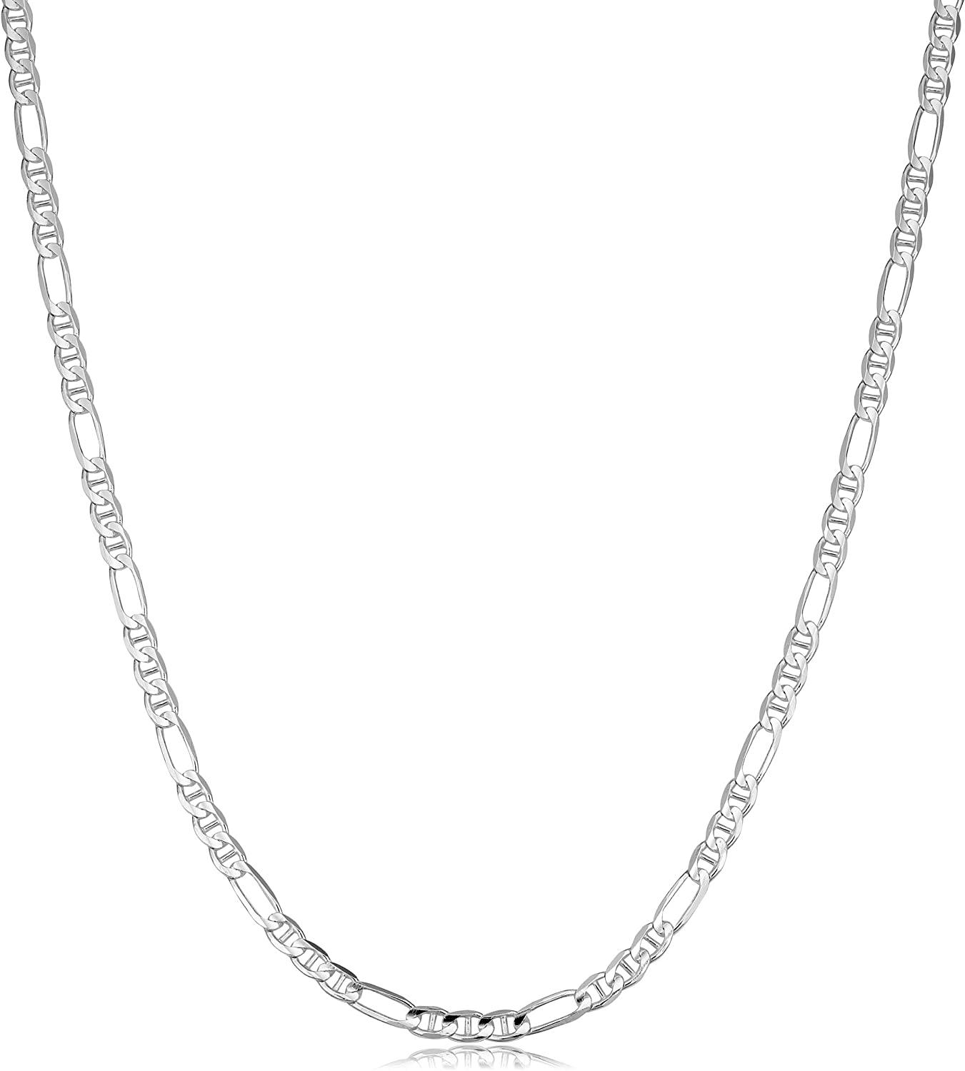 Kooljewelry Cheap super special price Sterling Silver 3.7 mm sale Chain Mariner Figaro Necklace