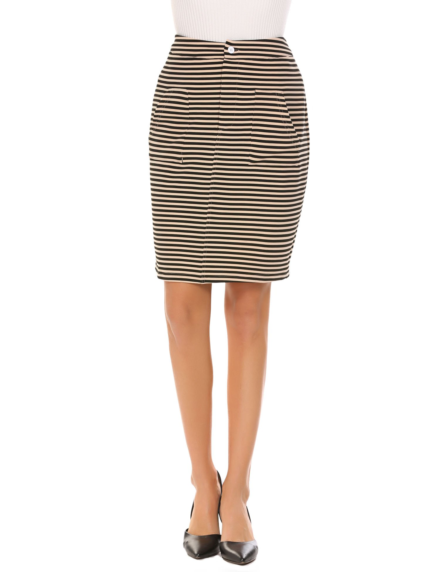Chigant Women's High Waist Striped Stretchy Pencil Skirt,Beige,Medium