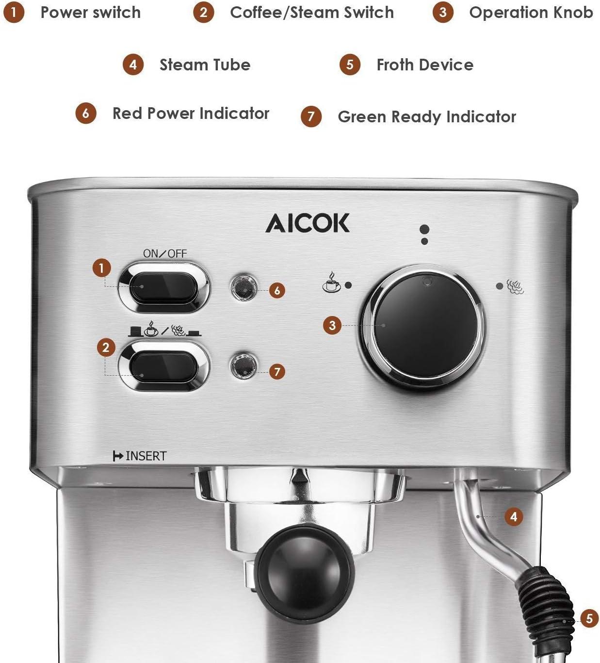 Amazon.com: AICOK Máquina de café expreso, cafetera para ...