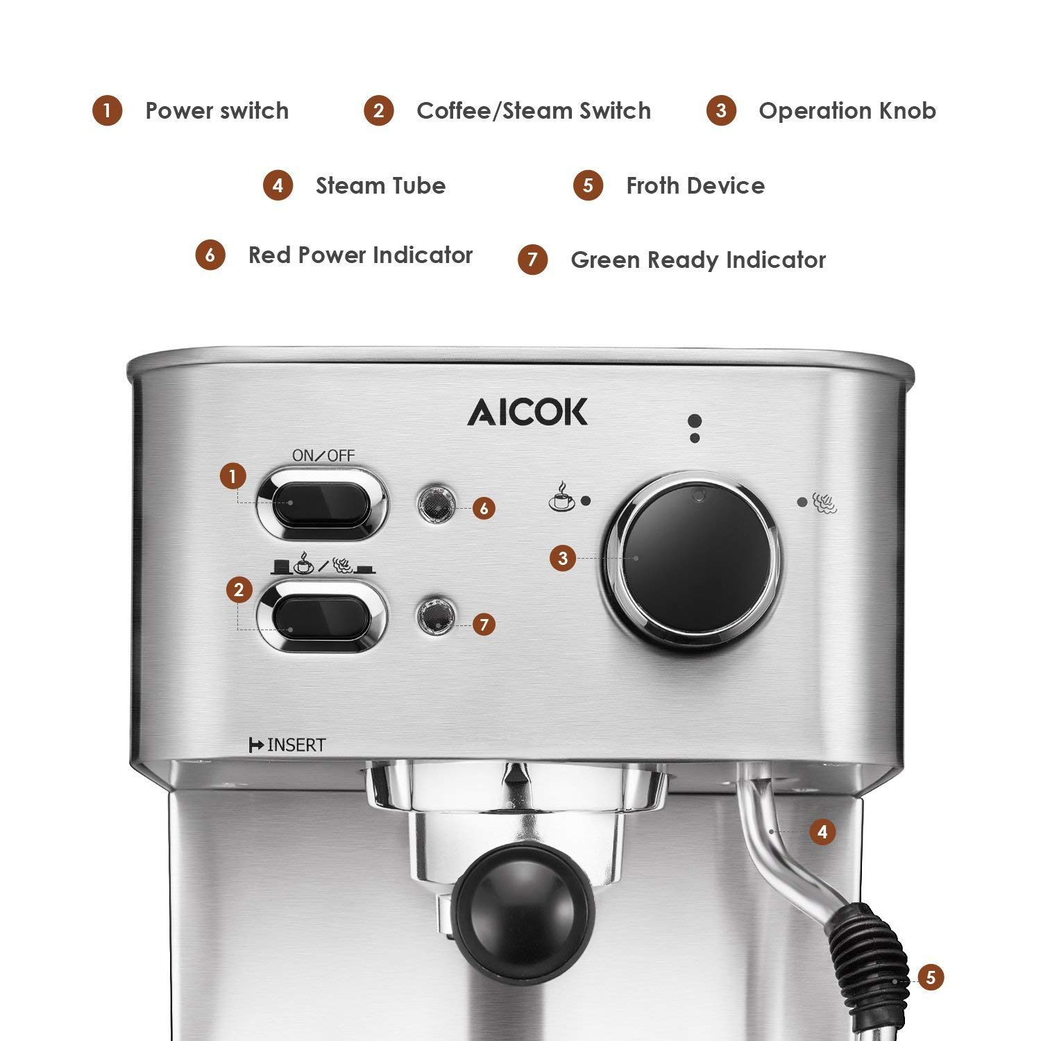 Espresso Machine, Cappuccino Coffee Maker with Milk Steamer Frother, 15 Bar Pump Latte and Moka Machine, Stainless Steel, Warm Top for Cup Placing, 1050W, by AICOK by AICOK (Image #3)