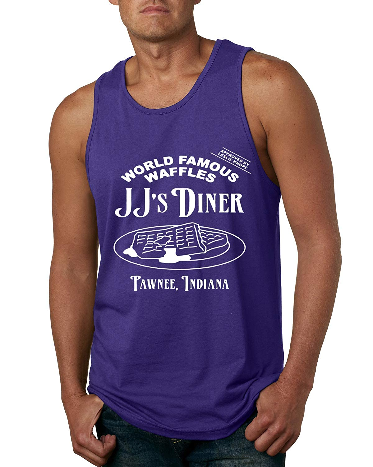 Mens Pop Culture Graphic Tank Top JJs Diner Indiana World Famous Waffles by Leslie