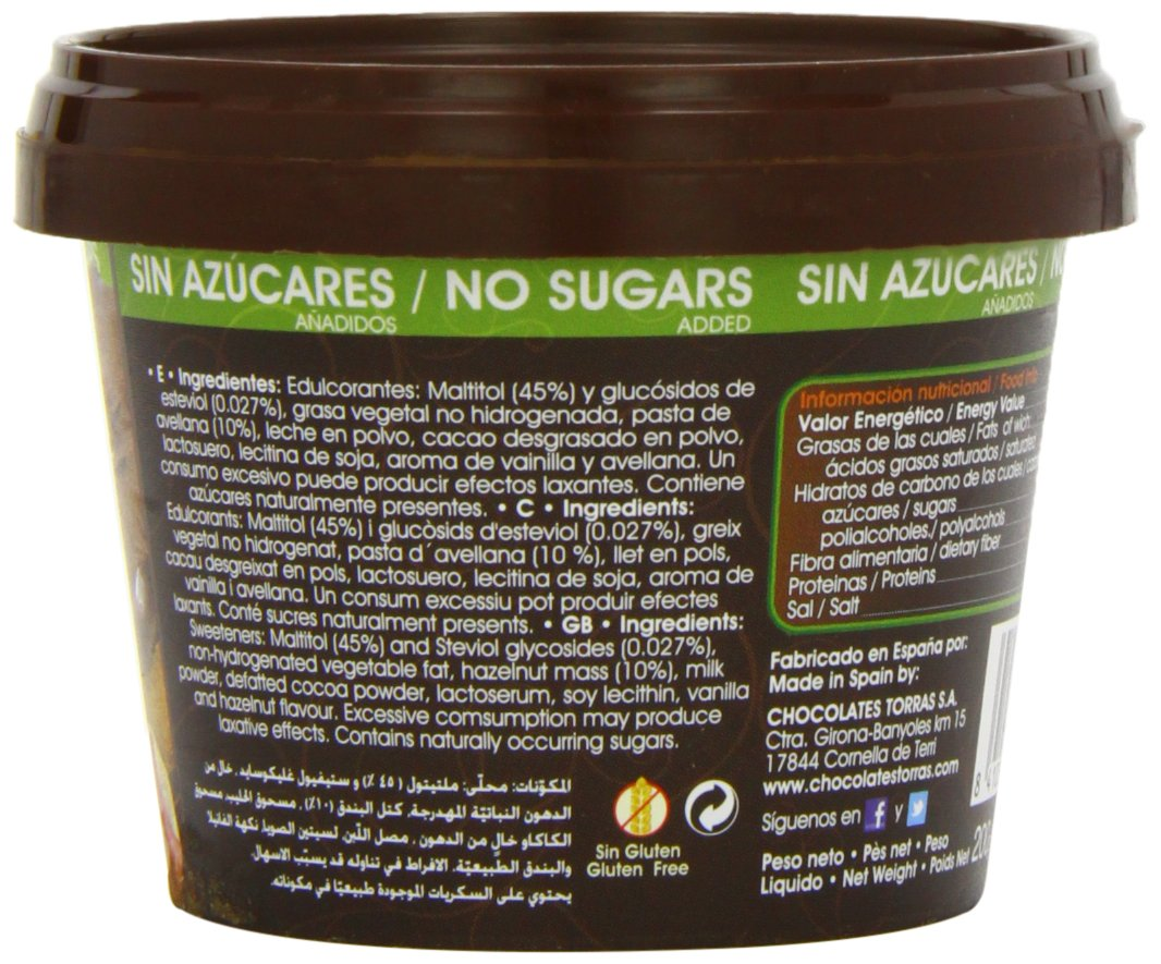 Amazon.com : Torras Stevia Hazelnut Chocolate Spread 200 g (Pack of 2) : Grocery & Gourmet Food