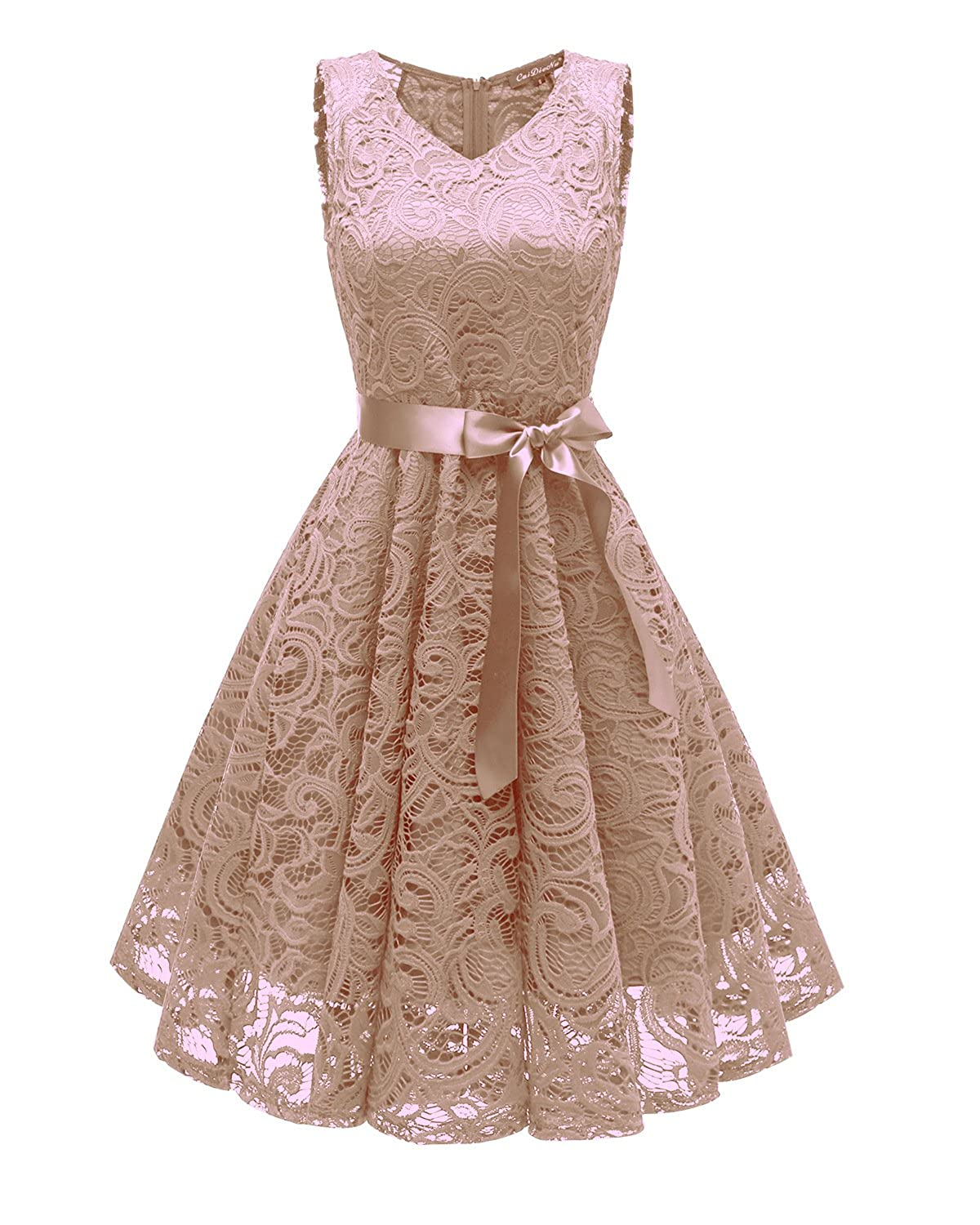 Cecile s Women s V Neck Vintage Lace Prom Wedding Cocktail Party Midi Swing  Dress With Belt Sash at Amazon Women s Clothing store  5d11f3f44