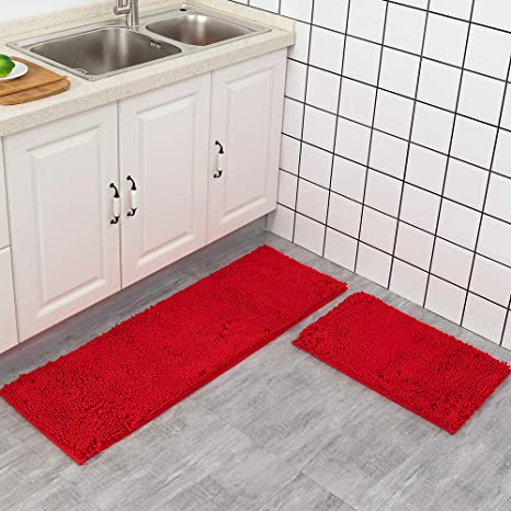 Amazon Com Red Rug For Kitchen Shaggy Chenille Rugs 2 Pieces Set Non Slip Washable Absorbent Runner And Mats Floor Mat Entryway Bath 24x 16 In 47x
