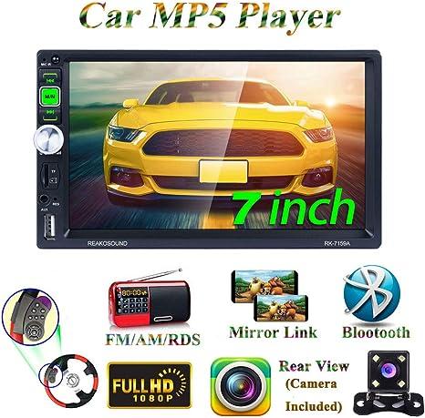 7 Zoll 2 Din Autoradio MP5 Player Unterst/ützung Bluetooth USB MiCarBa Bluetooth Auto MP5 Player mit HD Touchscreen MP5 FM TF AUX Eingang mit Fernbedienung R/ückfahrkamera