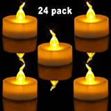Homemory Pack of 24 Flameless LED Tea Light, Amber Yellow Flickering Bulb, Long Lasting Battery Operated Electric votive candle, Realistic and Bright Faux tealights Dia 1.4