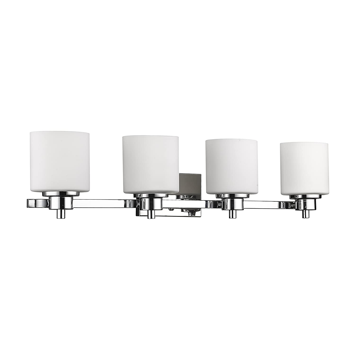 Chloe Lighting CH821036CM33-BL4 Contemporary 4 Light Chrome Finish Bath Vanity Wall Fixture Alabaster Glass, 33 Wide, White
