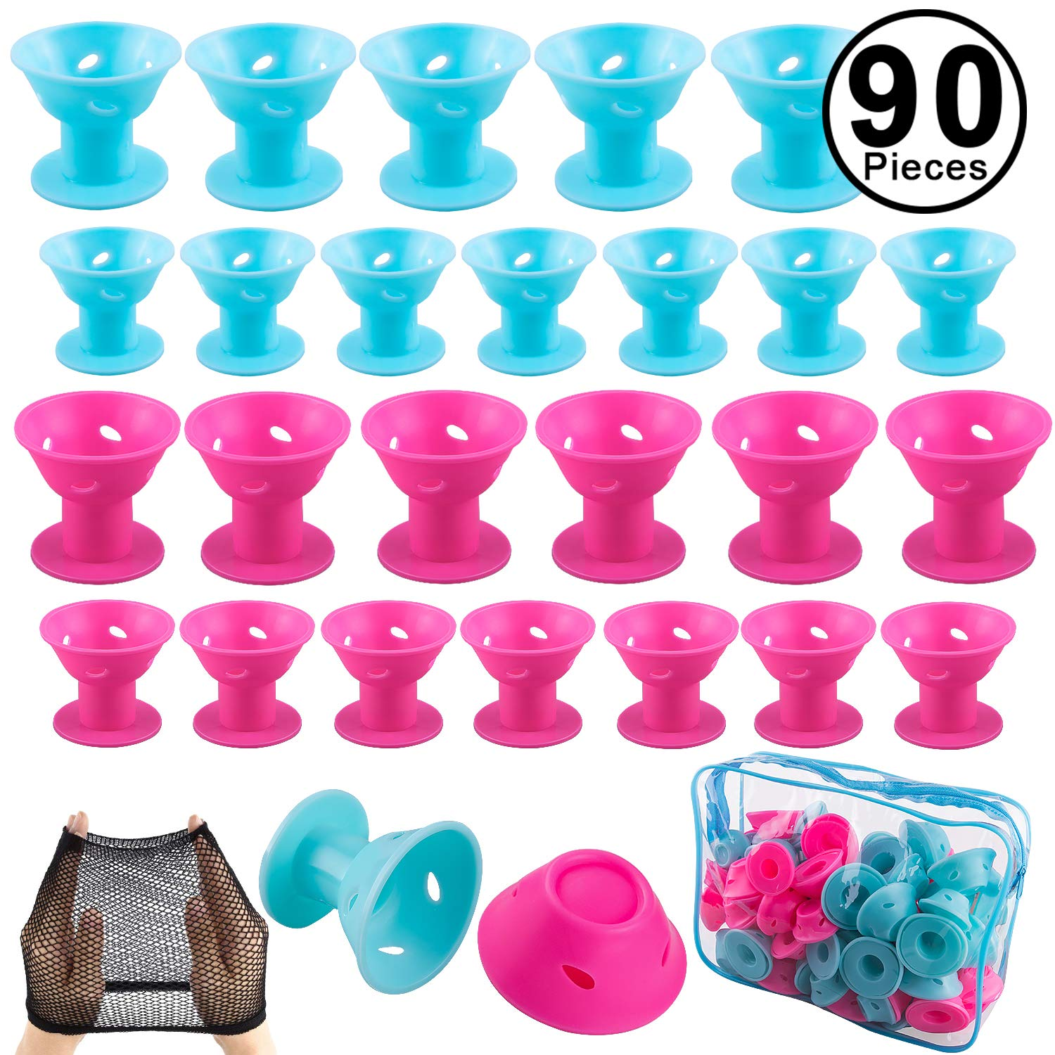 SIQUK 90 Pcs Hair Rollers Silicone Blue and Pink Hair Curlers Set Icluding 44 Pcs Large Hair Rollers and 44 Pcs Small Magic Hair Style Tools(Bonus: 1 Pc Transparent Zipper Bag,2 Pcs Black Wig Cap)
