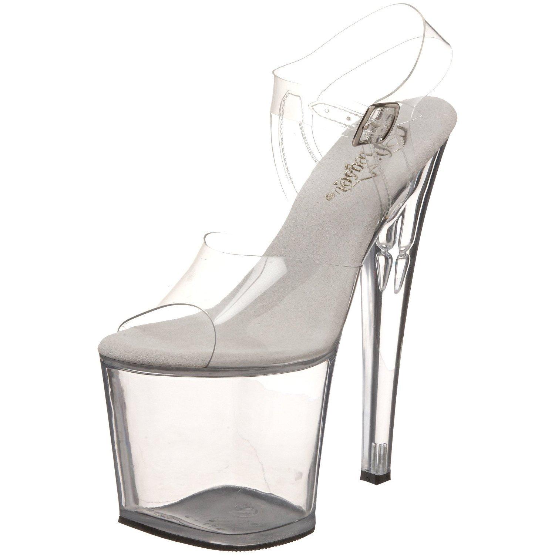 Pleaser TABOO-708 7 1/2 Heel, 3 1/2 Slv Chrome PF Ankle Strap Sandal B00HV9WO8O 6 B(M) US|Clear/Clear