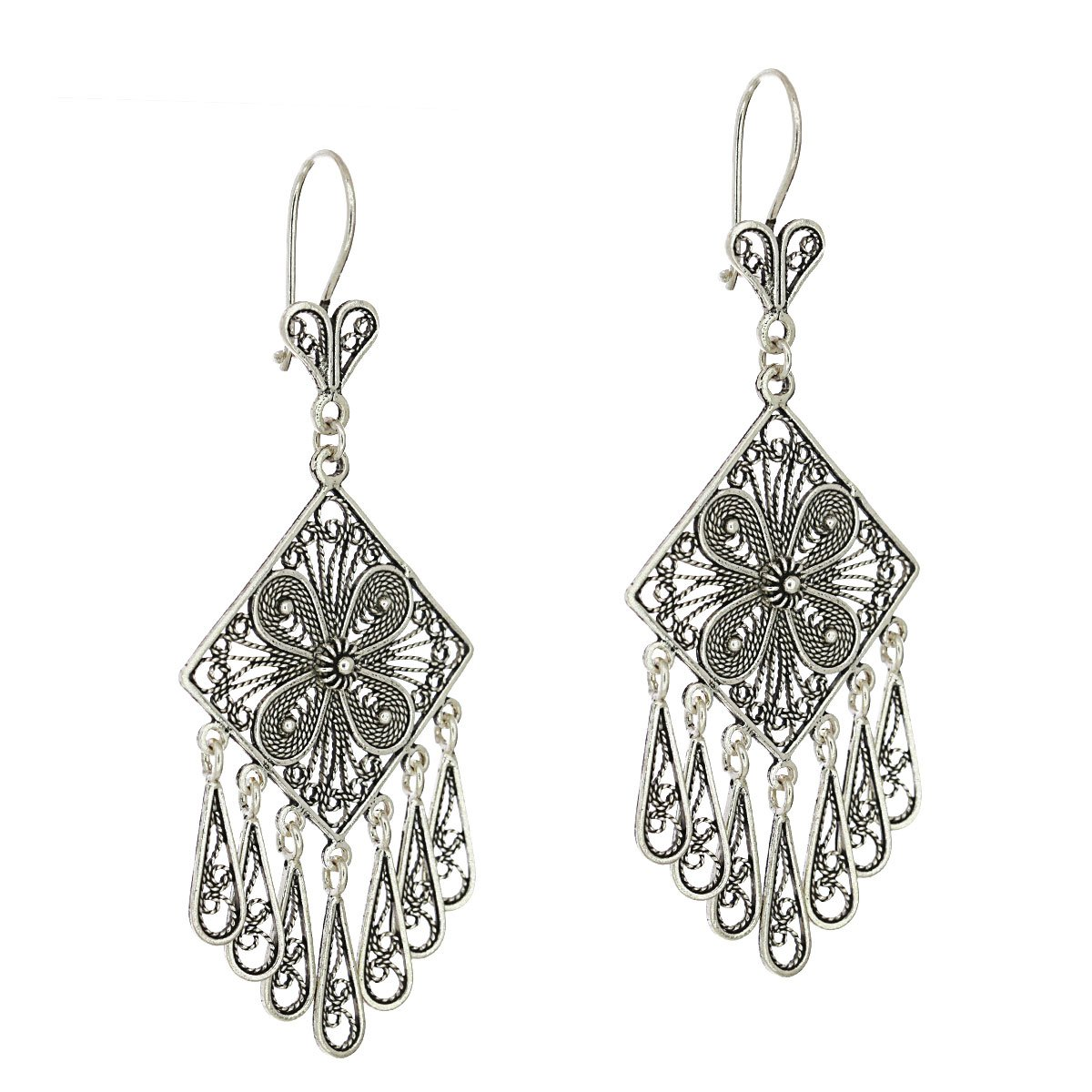 925 Sterling Silver Artisan Filigree Tassel Chandelier Earrings