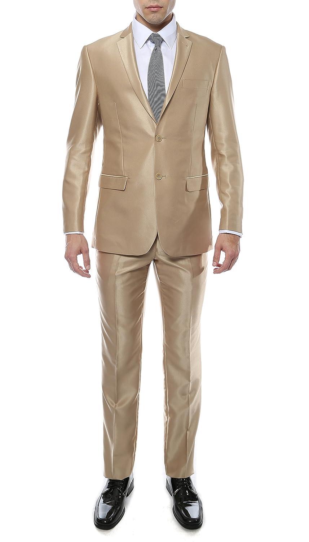 Ferrecci Mens Premium Shiny Sharkskin Slim Fit 2pc Suit - Many Colors OXFORD