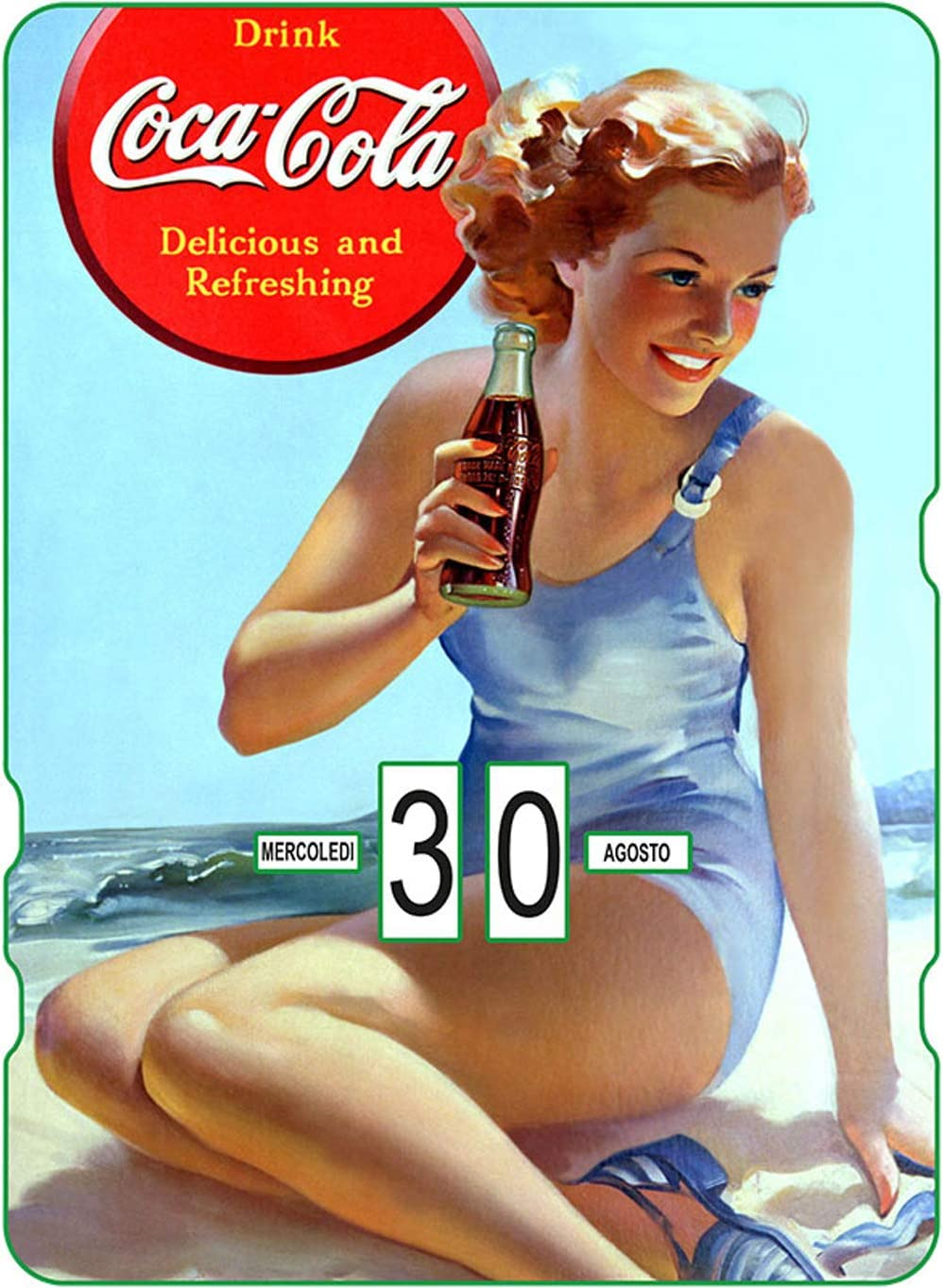 Calendario perpetuo Coca-Cola Pin-Up in spiaggia