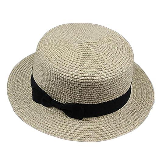 Womens Boater Sun Hat Ribbon Round Flat Top Straw Fedora Panama Hat ... 154ff9ba81a
