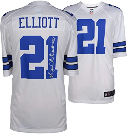 Ezekiel Elliott Dallas Cowboys Autographed White Nike Game