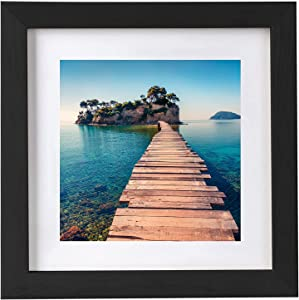 BESLY 12x12 Picture Frames Black Matted 8x8 Wooden Picture Frame Poster Frame Document Diploma and Certificate Frame for Wall Hanging Home Decoration-Black
