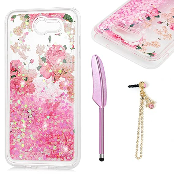 bf40aec7db Galaxy J7 Prime Case, MOLLYCOOCLE Luxury Bling Glitter Sparkle Shell 3D  Bling Sparkle Glitter Quicksand and Cute Star Flowing Liquid Soft TPU Frame  ...