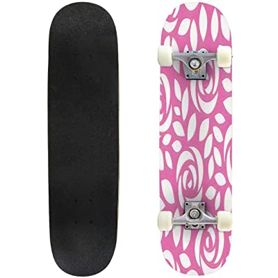 "Seamless Repeat Pattern with Flowers in Black and Pastel Pink on White Outdoor Skateboard 31""x8"" Pro Complete Skate Board Cruiser 8 Layers Double Kick Concave Deck Maple Longboards for Youths Sports : Sports & Outdoors"
