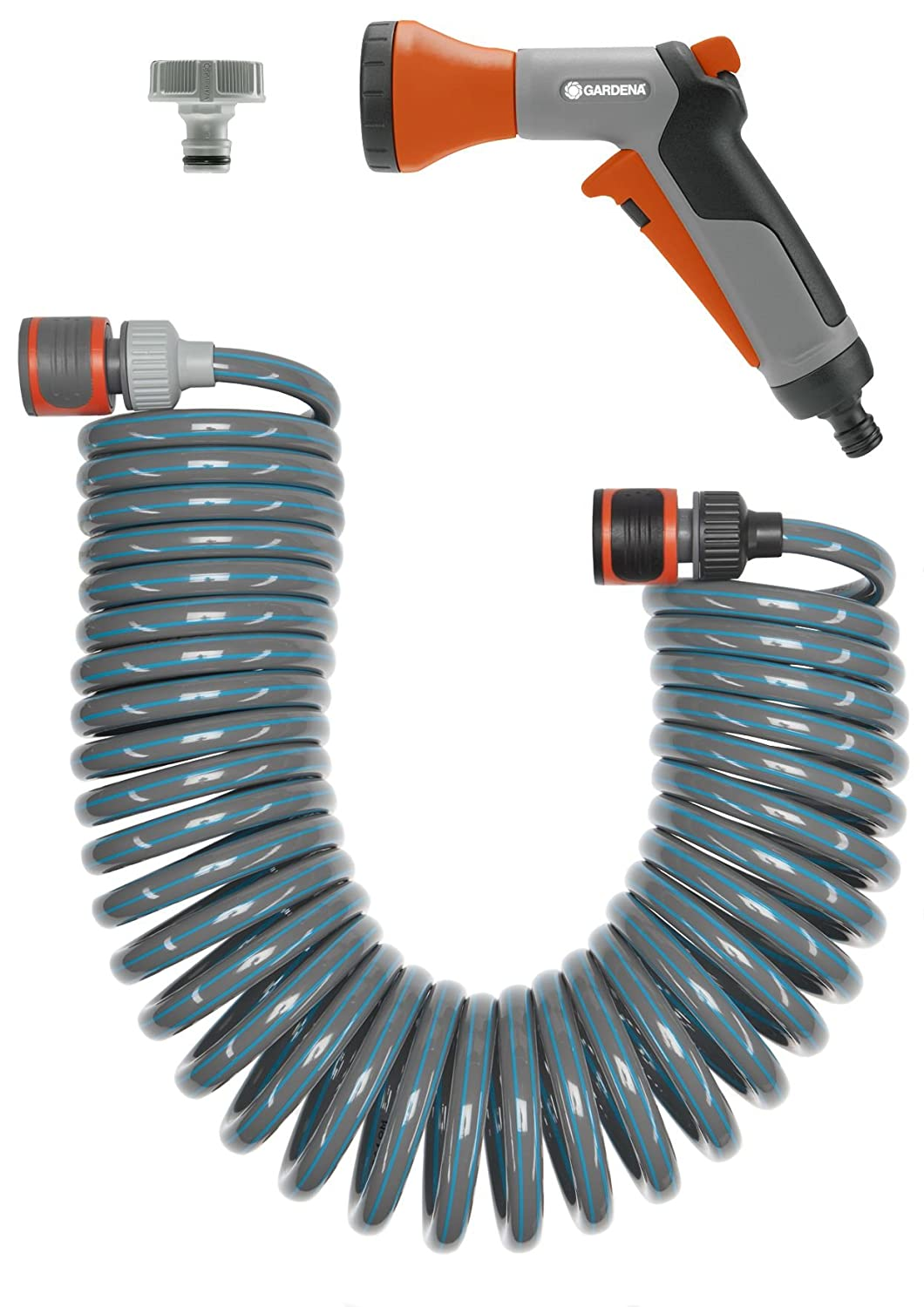 GARDENA city gardening Terrace Hose 10 m: Spiral hose, ideal for balcony/terrace/front garden, no rolling/unrolling, automatically winds back up after use, with pulse sprayer (18424-20)