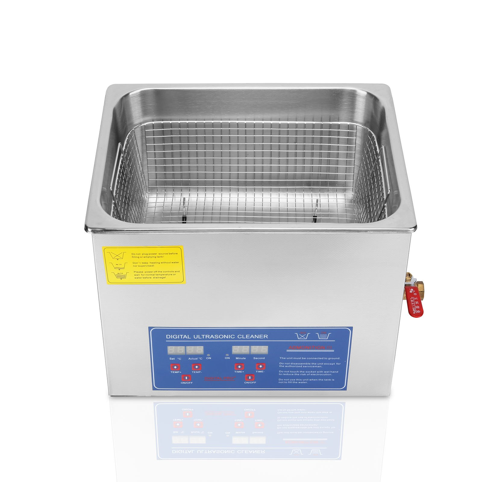 OrangeA Ultrasonic Cleaner Ultrasonic Cleaner Solution Heated Ultrasonic Cleaner 15L for Jewelry Watch Cleaning Industry Heated Heater with Drainage System (15 Liter)