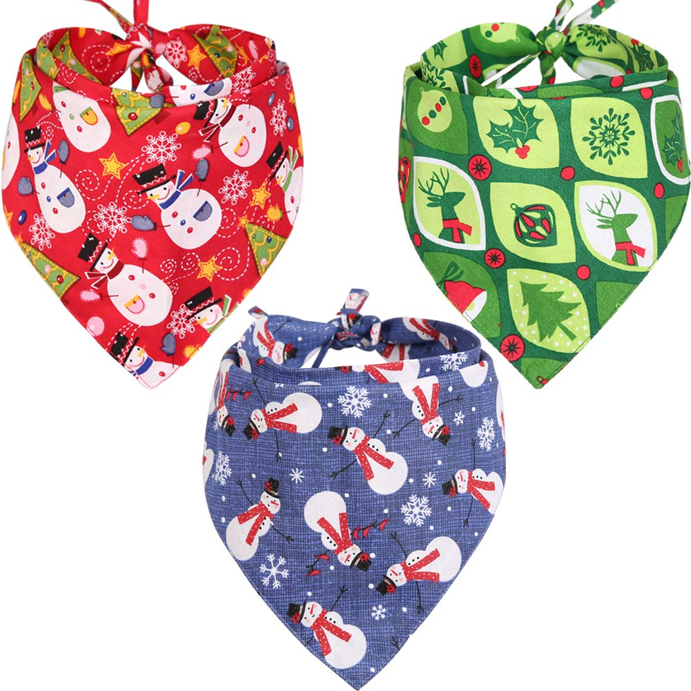 KZHAREEN 3 Pack Christmas Dog Bandana Reversible Triangle Bibs Scarf Accessories for Dogs Cats Pets
