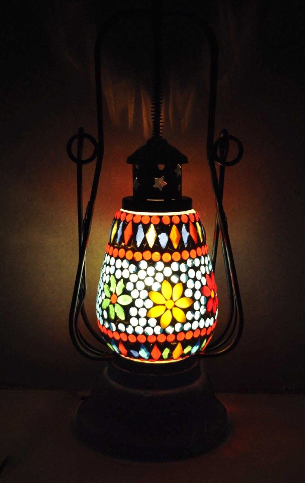 Lalhaveli Handmade Mosaic Turkish Hanging Lantern 6 X 19 Inches