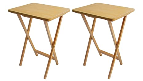 Juego de 2 mesas auxiliares plegables (madera chapada)