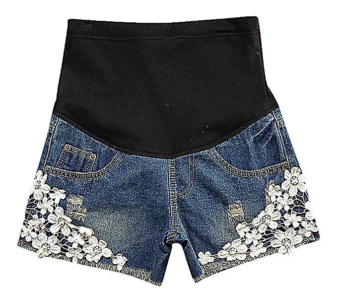 13b0e5c24d30c Hibukk Women's Cute Floral Lace Patchwork Denim Elastic Waist Maternity  Shorts, Blue 4,Manufacturer