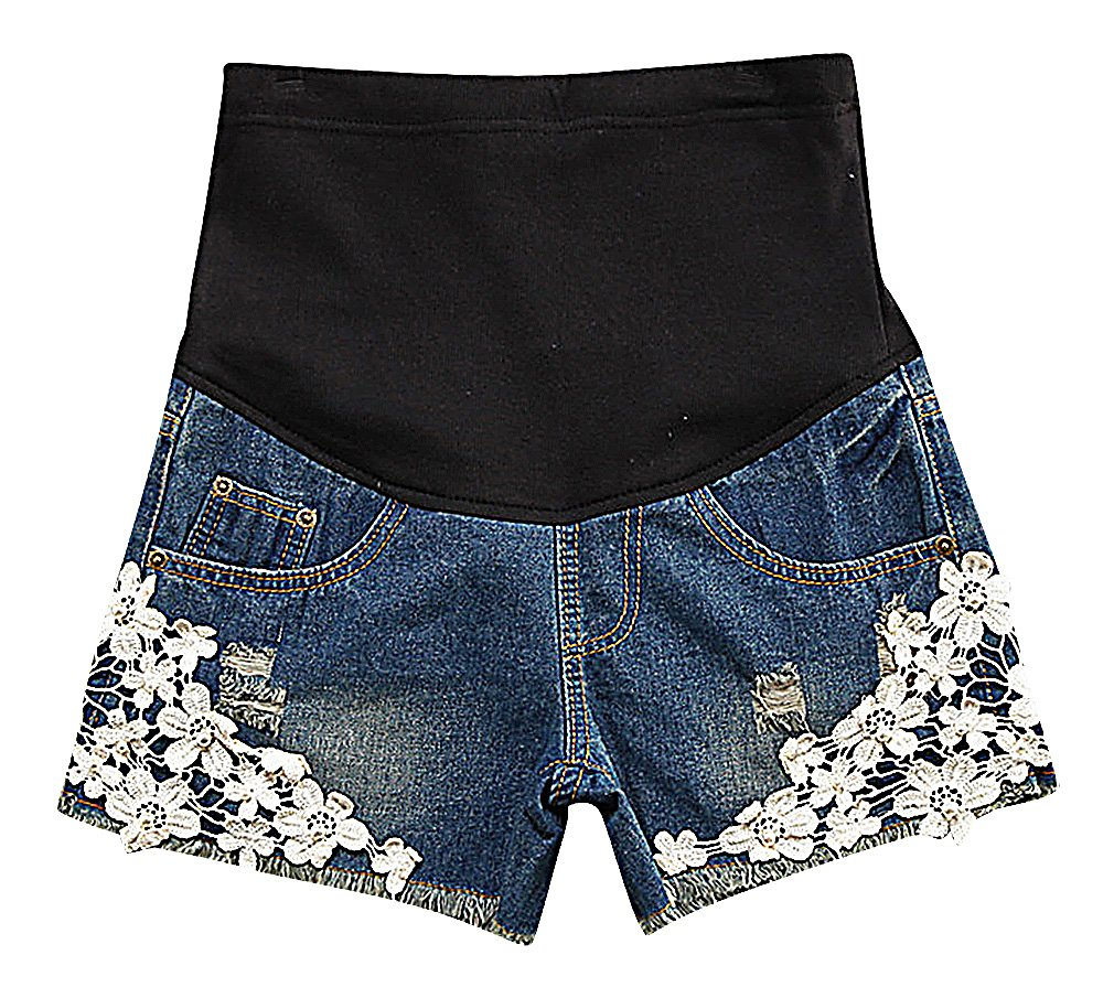 US&R, Women's A Line Floral Lace Washed Denim Secret Fit Belly, Blue 10 ,Manufacturer(XXL)