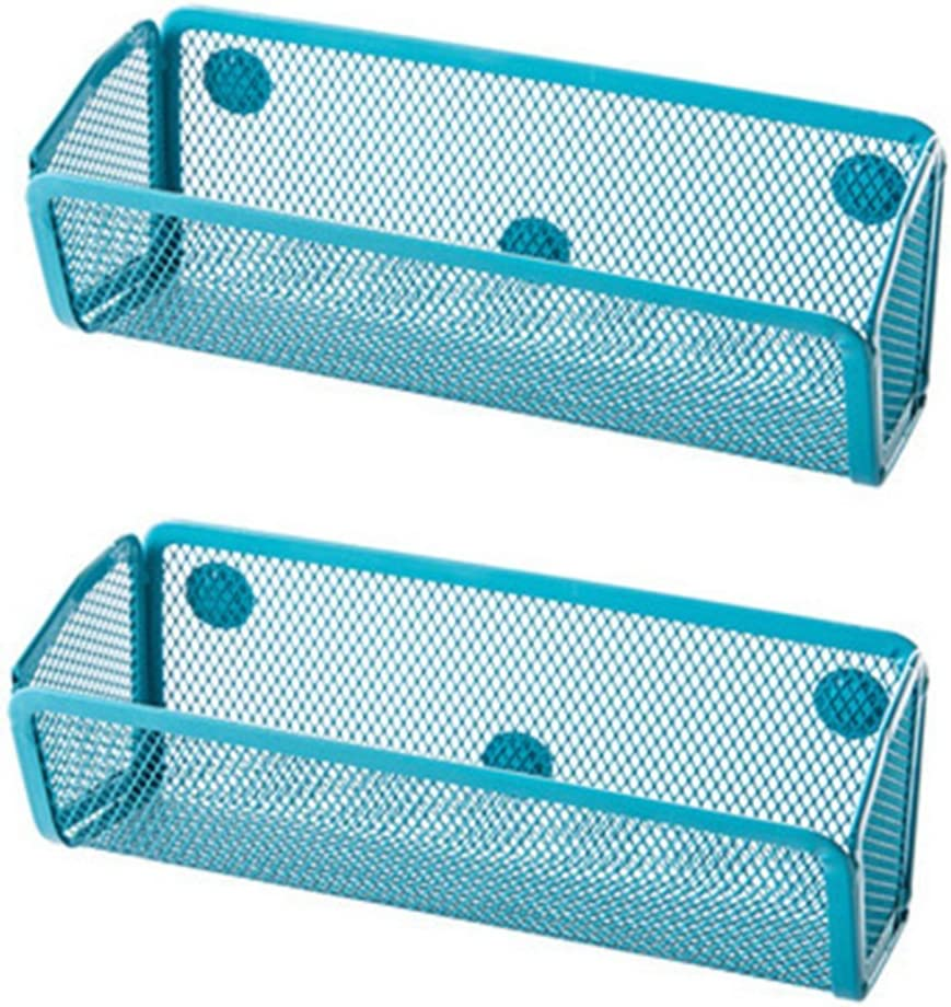 Chris.W 2Pack Small Mesh Magnet Storage Container Caddy Basket Holder for Whiteboard/Refrigerator/Microwave Oven Or Maganetic Surface(Blue)