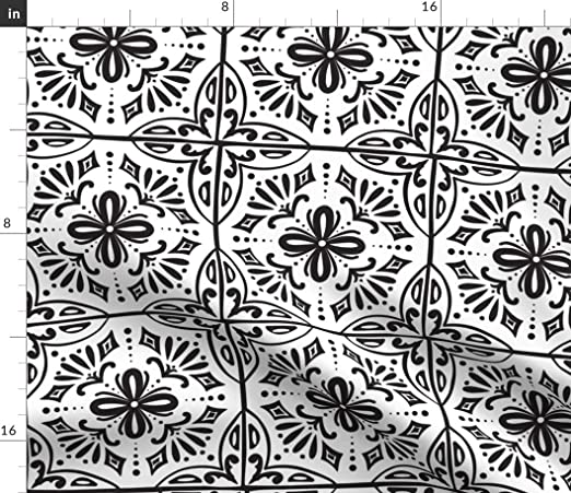 Amazon Com Spoonflower Fabric Spanish Tiles Coloring Book Style Tile Geometric Black White Geo Color Printed On Cotton Poplin Fabric By The Yard Sewing Shirting Quilting Dresses Apparel Crafts