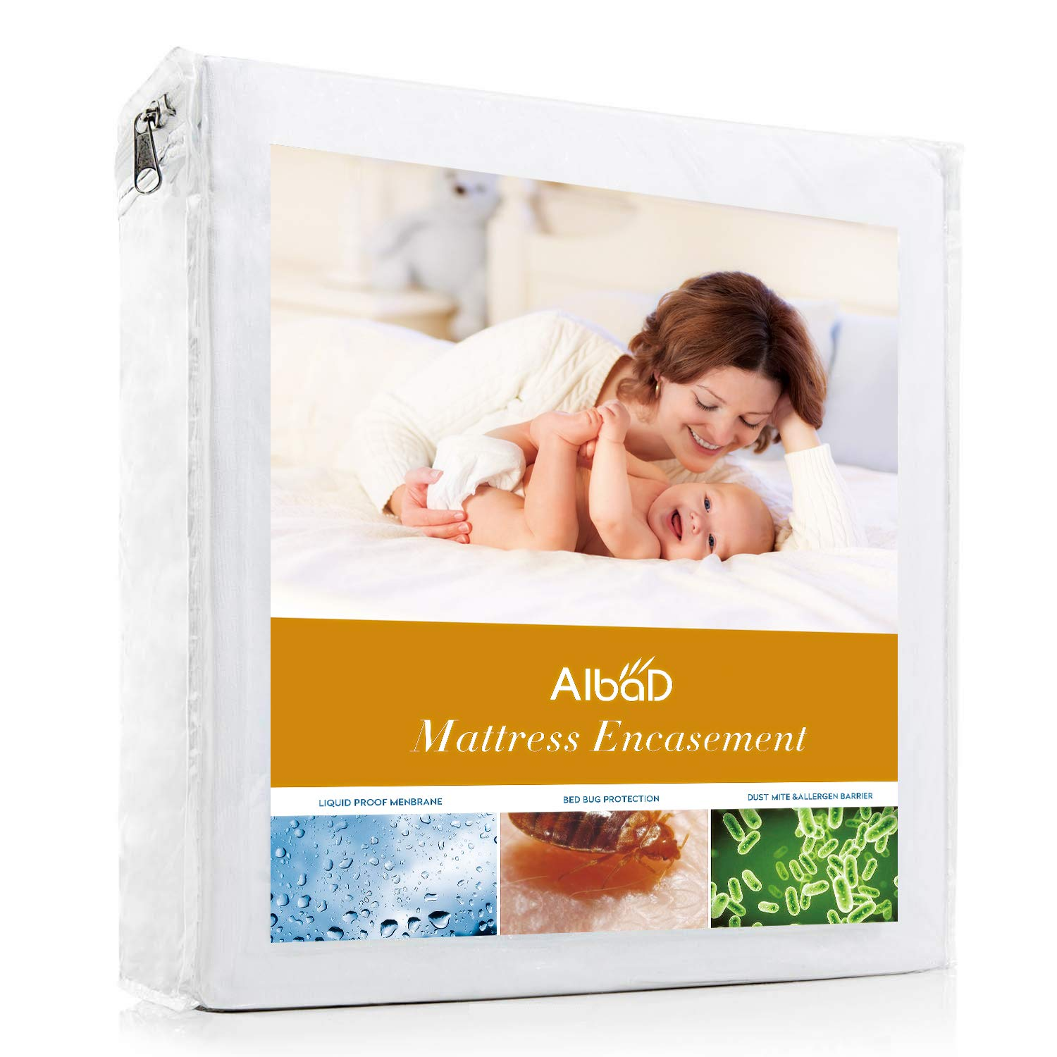 ALBAD Mattress Cover Twin Protector Pad 100% Waterproof Super Soft with 18 inches Deep Pocket Bed Cover Hypoallergenic bedspreads Dust Mite proofbed Sheet Cover Stain Resistant Comfortable Cotton