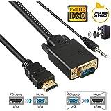 HDMI to VGA 変換ケーブル  変換アダプタ  オス-オス  音声出力付き 3.5mmオーディオコード付き 3D映像 高解像度 1080P対応 1.8M 金メッキコネクター搭載 hdmi to vga変換器