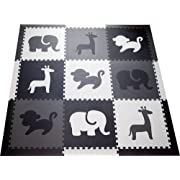 SoftTiles Kids Foam Play Mat - Safari Animals Theme- Nontoxic Puzzle Play Mats for Children's Playrooms or Baby Nursery- Large Floor Tiles for Crawling (6.5' x 6.5') (Black, Gray, White) SCSAFBGW
