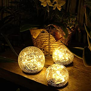 "Jinniee Solar Powered LED Garden Light Cracked Glass Globe Ball Outdoor Lamp for Lawn Patio Garden Yard (Diameter: 5.91"", Led Globe 2Pack)"