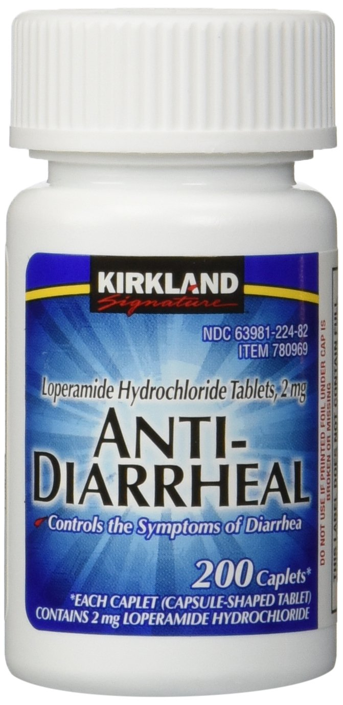Kirkland Signature Anti-Diarrheal Loperamide Hydrochloride 2 MG Caplets, 200-Count Bottle