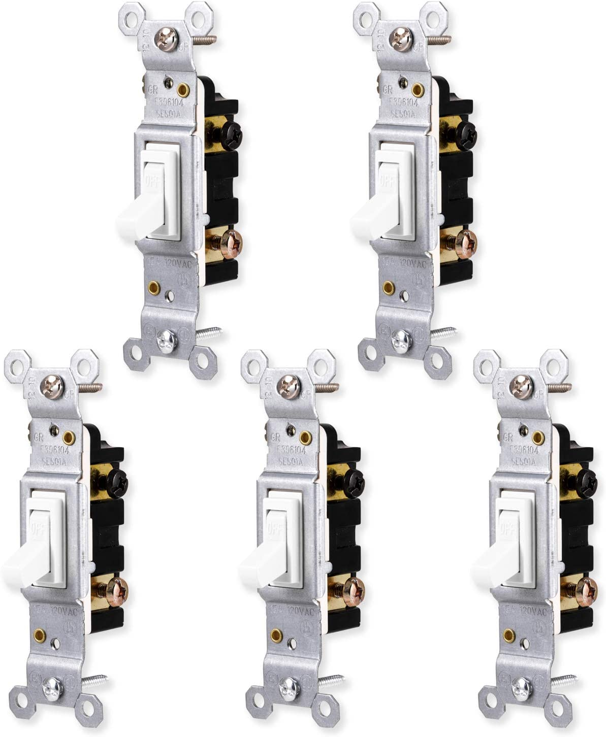 GE Grounding Toggle 5 Pack, Single Pole, in Wall On/Off Fan & Light Replacement, 15 Amp, for Home, Office & Kitchen, UL Listed, White, 44034 light switches,