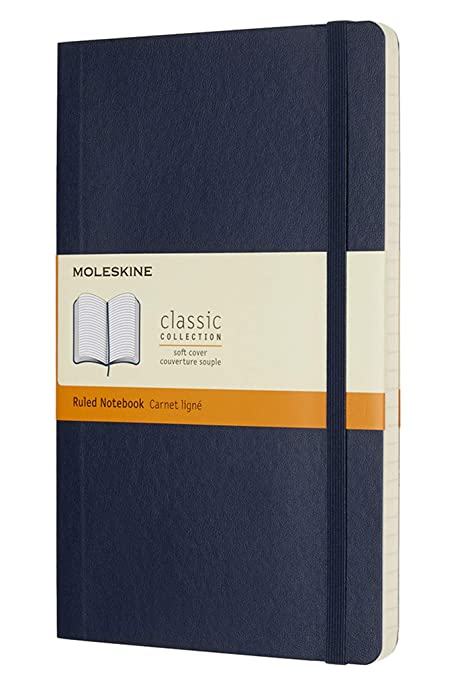 Moleskine Classic Notebook, Soft Cover, Large (5″ x 8.25″) Ruled/Lined, Black