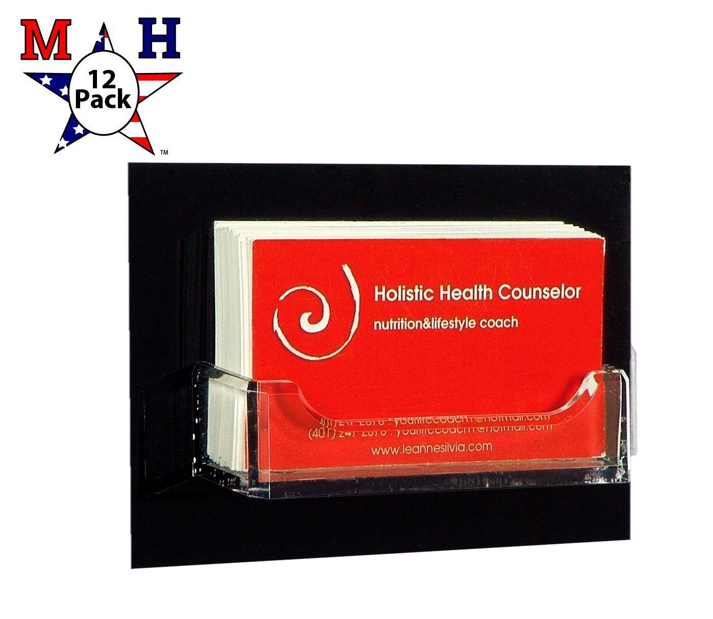 Marketing Holders Wall Business Card Holder Rack Display Premium Acrylic (12, Black Back Clear Pocket)