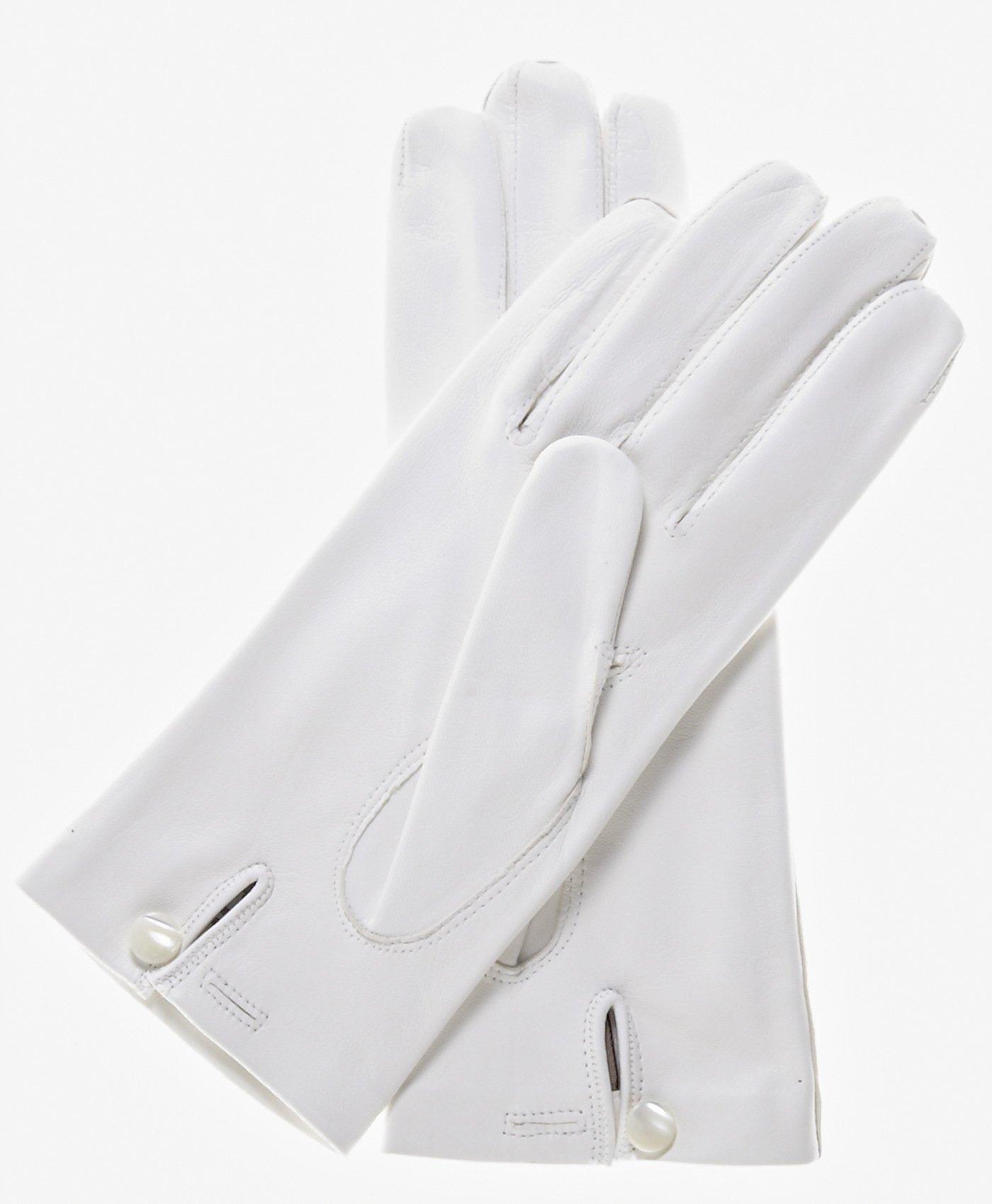 Fratelli Orsini Women's Italian Silk Lined White Leather Wedding Gloves Size 7 1/2 Color White by Fratelli Orsini (Image #3)